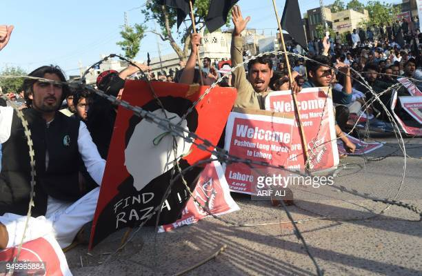 Pakistani members of the Pashtun Protection Movement and student activists gather during a demonstration in Lahore on April 22 2018 Thousands of...