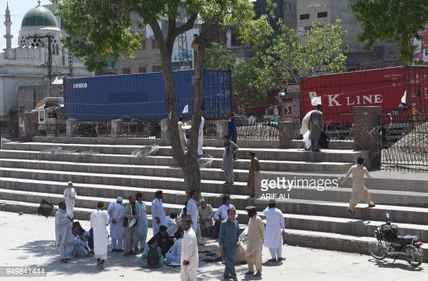 Pakistani members of the Pashtun Protection Movement and student activists gather before the start of demonstration in Lahore on April 22 2018...