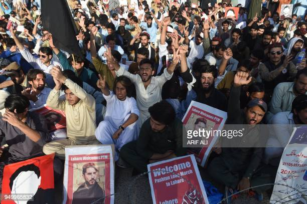 Pakistani members of the Pashtun Protection Movement and student activists shout slogans during a demonstration in Lahore on April 22 2018 Thousands...