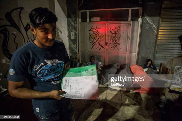 Pakistani migrants spending the night outdoors in Thessaloniki city in Greece The group of men is denied to stay in any shelter even with the proper...
