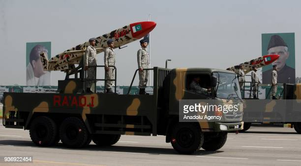 Pakistani missiles are displayed during a military parade to mark Pakistan's National Day in Islamabad Pakistan on March 23 2018