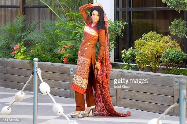 pakistani model - salwar kameez stock photos and pictures
