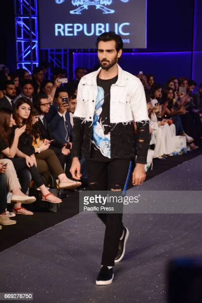 Pakistani model presents a creation by a famous fashion designer REPUBLIC on the last day of Pakistan Fashion Design Council Sunsilk Fashion Week in...