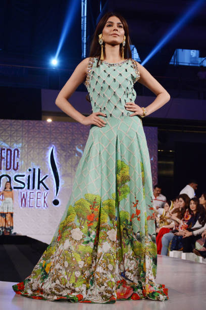 Pakistani model presents a creation by a famous fashion designer SO KAMAL on the last day of Pakistan Fashion Design Council Sunsilk Fashion Week in..