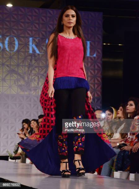 Pakistani model presents a creation by a famous fashion designer SO KAMAL on the last day of Pakistan Fashion Design Council Sunsilk Fashion Week in...