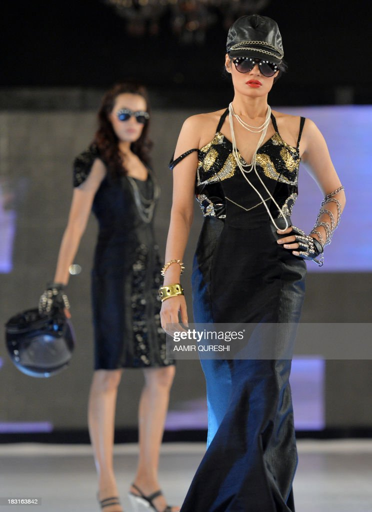 A Pakistani Model Presents A Creation By Iqra University On The First News Photo Getty Images