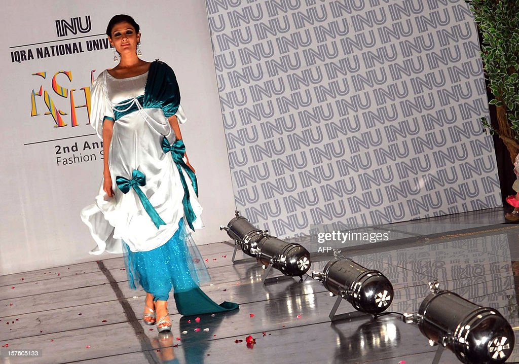 A Pakistani Model Presents A Creation By Students Of Iqra University News Photo Getty Images