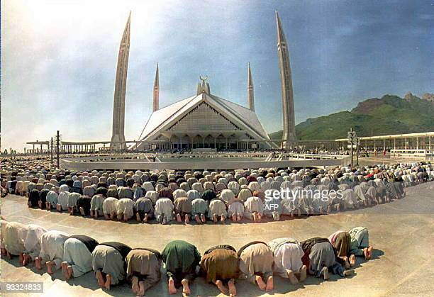 Pakistani Moslems pray in the Faisal mosque compound on the last Friday of the holy month of Ramadan 24 February in Islamabad Thousands of people...