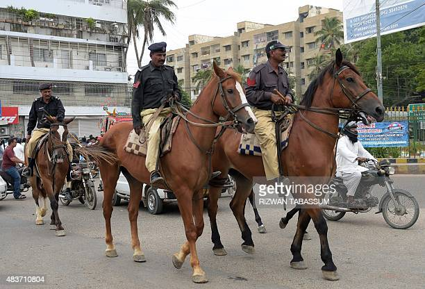 Pakistani mounted police patrol in Karachi on August 12 2015 Pakistani security forces said they had foiled a plot to bomb Independence Day...