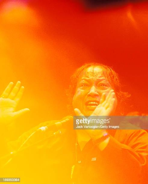 Pakistani musician Nusrat Fateh Ali Khan performs during a World Music Institute concert in Lincoln Center's Alice Tully Hall New York New York March...