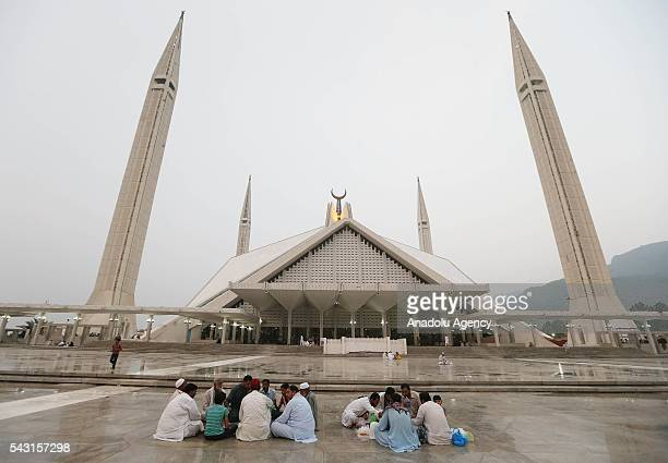 Pakistani muslims break their fasts during the holy fasting month of Ramadan at Faisal Mosque in Islamabad Pakistan on June 26 2016