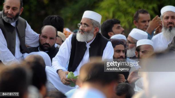 Pakistani Muslims including the head of a largest religious Islamic party JamaatiIslami Maulana Siraj ul Haq attend a protest against Myanmar's...