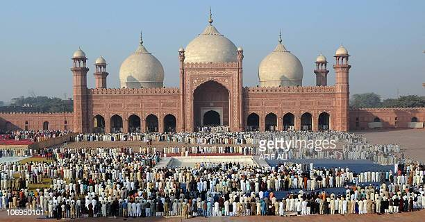 Pakistani Muslims offer Eid alAdha prayers at the Badshahi Mosque in Lahore on November 17 2010 The annual Islamic holiday which falls from November...