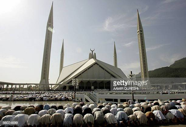 Pakistani Muslims offer the last Friday prayers of the Islamic holy month of Ramadan at the Faisal Mosque in Islamabad 28 October 2005 The world has...