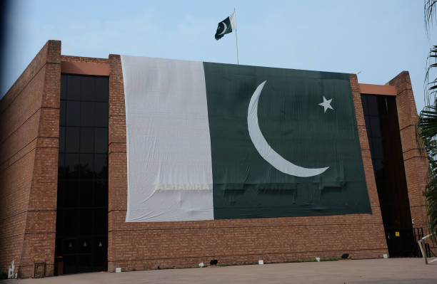 Pakistani national flag for the 70th Independence Day celebration in Lahore on August 022017 The annual celebration is every 14th day of August The...