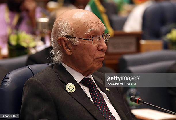 Pakistani National Security Adviser Sartaj Aziz attends the 42nd Session of the Council of Foreign Ministers of the Organization of Islamic...