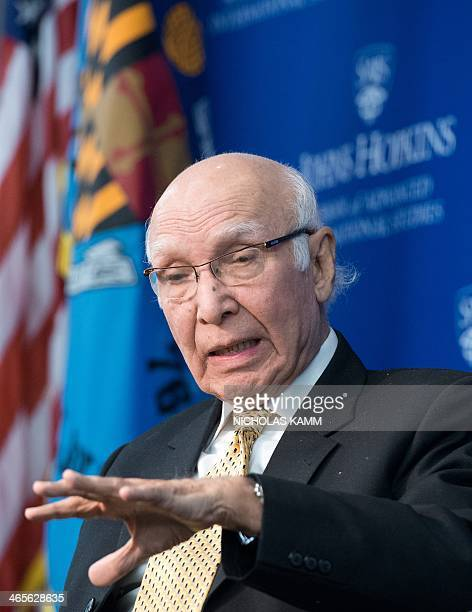 Pakistani national security adviser Sartaj Aziz speaks at the Johns Hopkins School of Advanced International Studies in Washington on January 28 2014...