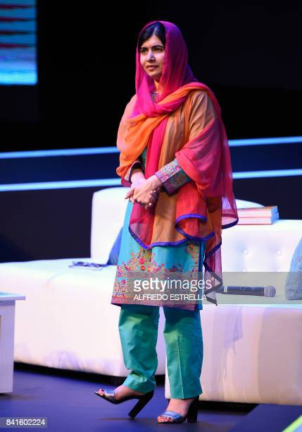 Pakistani Nobel Peace Prize 2014 laureate Malala Yousafzai is pictured during a meeting with students of the TelmexTelcel Foundation at the National...