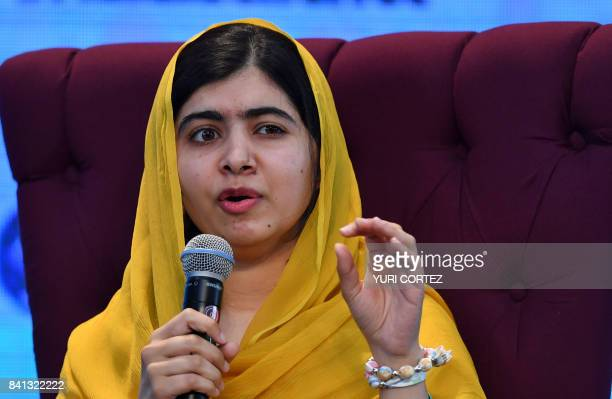 Pakistani Nobel Peace Prize 2014 laureate Malala Yousafzai speaks during a meeting with students of the Monterrey Institute of Technology in Mexico...