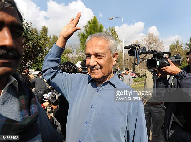 Pakistani nuclear scientist Abdul Qadeer Khan waves after talking to the media at his residence after a court verdict in Islamabad on February 6 2009...