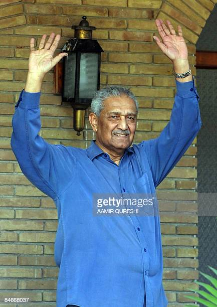 Pakistani nuclear scientist Abdul Qadeer Khan waves at his residence after a court verdict in Islamabad on February 6 2009 A Pakistani court order on...