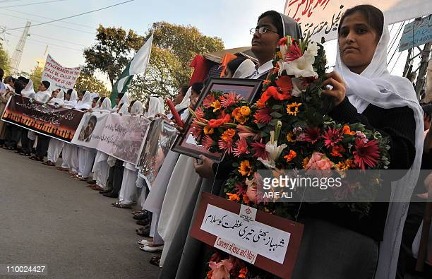 Pakistani nuns gather at a rally in Lahore on March 12 for the slain Pakistani Minority affairs minister Shahbaz Bhatti Bhatti an outspoken...
