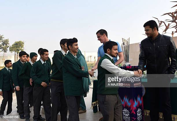 Pakistani One Day cricket captain Azhar Ali meets with students from the Army Public School which was the scene of the deadliest terror attack in...