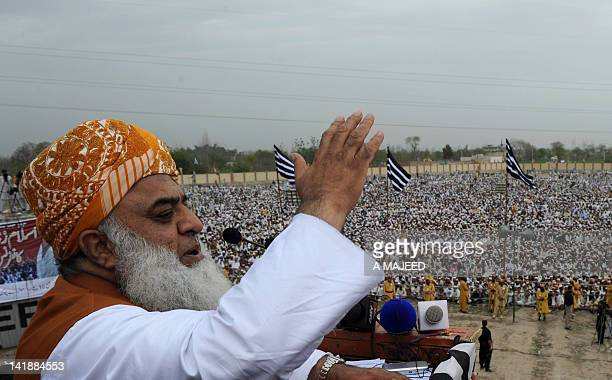 Pakistani opposition leader Maulana FazalurRehman addresses a protest rally in Peshawar on March 25 2012 Parliament will debate on March 26 the...