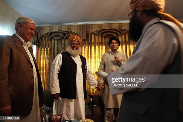 Pakistani opposition leaders Aftab Sherpao Maulana FazalurRehman Chaudhry Nisar and Mulana Gafur Hadri arrive at a meeting to discuss the reopening...