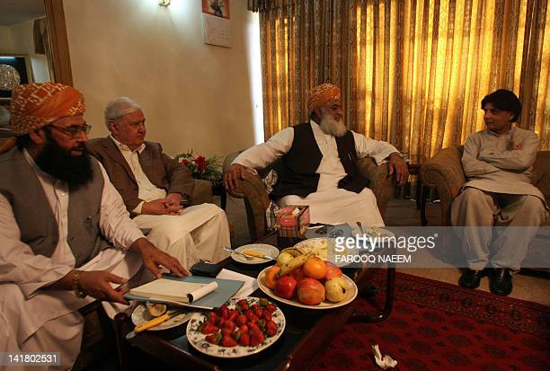 Pakistani opposition leaders Aftab Sherpao Maulana FazalurRehman Mulana Gafur Hadri Chaudhry Nisar discuss the reopening of NATO supply lines to...