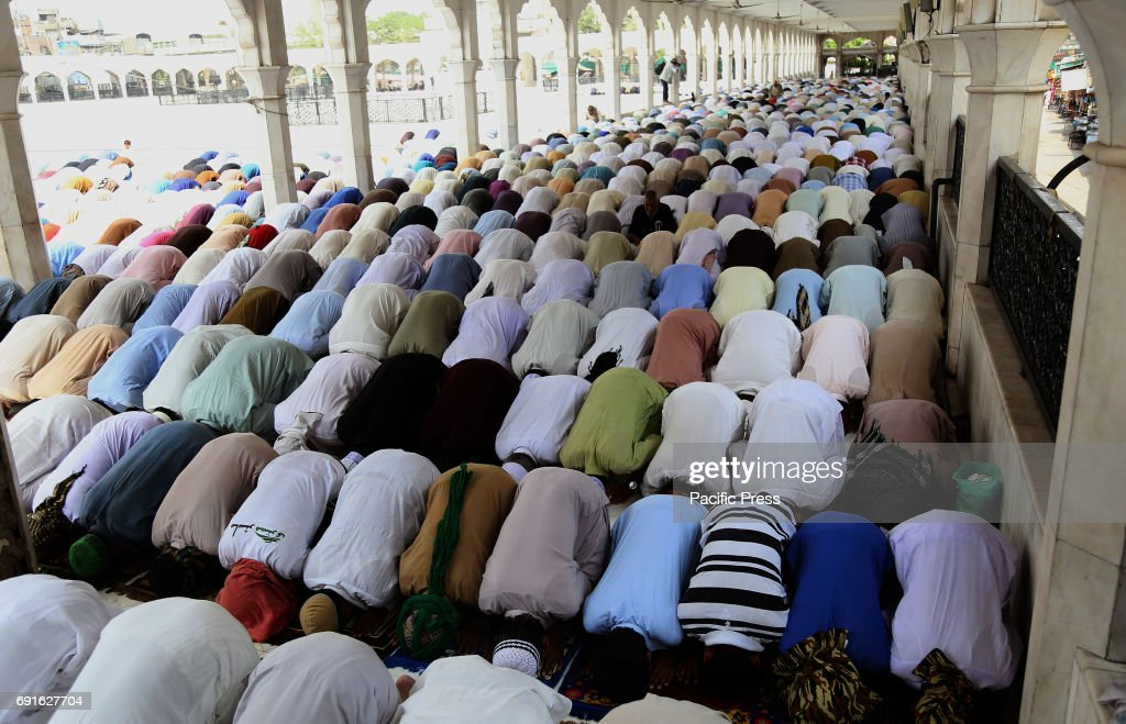 Pakistani people offering first Friday prayer at the Data Darbar mosque during holy fasting month of Ramzanulmubarak