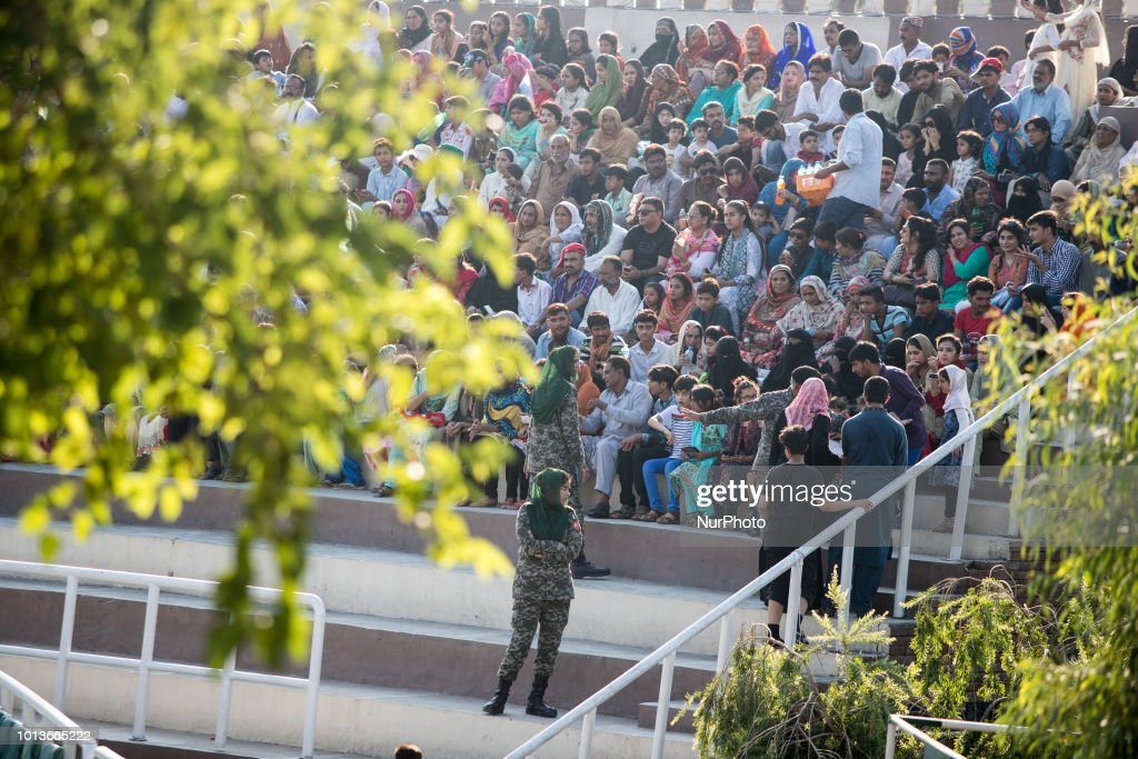 Pakistani people watch the WagahAttari border ceremony in 8 August 2018 This ceremony takes place every evening before sunset at the Wagah and Attari.