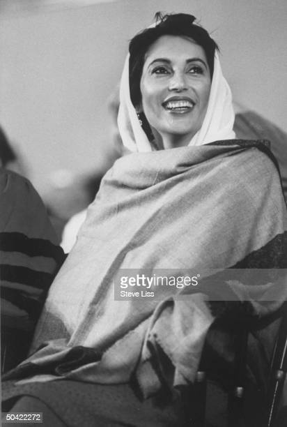 Pakistani PM Benazir Bhutto at Harvard commencement exercises where she received an honorary degree