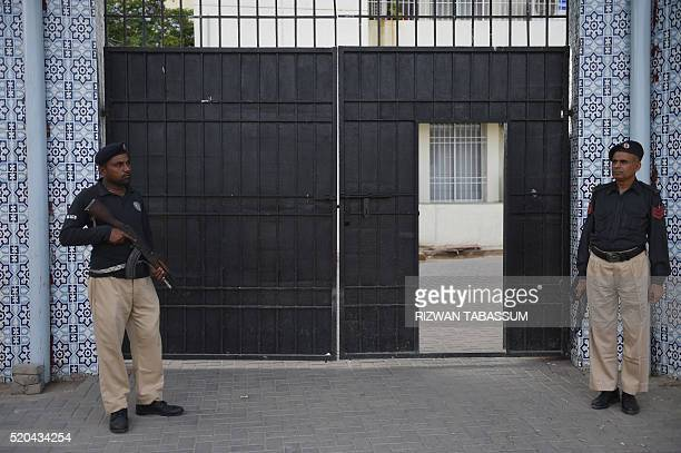 Pakistani policemen stand guard outside the AntiTerrorism Court in Karachi on April 11 2016 The detonator element of a hand grenade exploded during a...