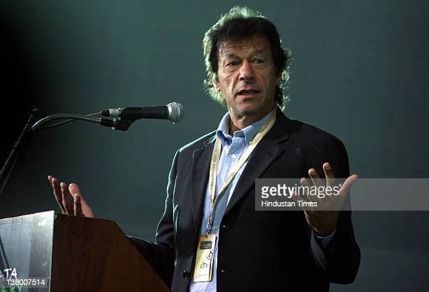 Pakistani politician and former cricketer Imran Khan addresses an interactive session at the 36th International Kolkata Book Fair on January 30, 2012...