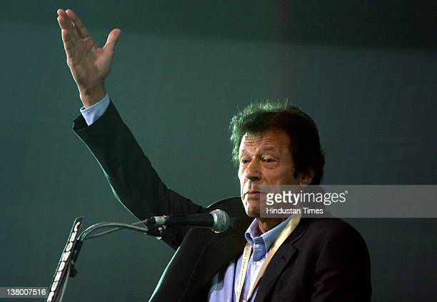 Pakistani politician and former cricketer Imran Khan addresses an interactive session at the 36th International Kolkata Book Fair on January 30 2012...