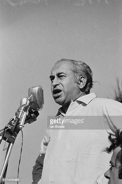 Pakistani politician and statesman Zulfikar Ali Bhutto giving a speech circa April 1971