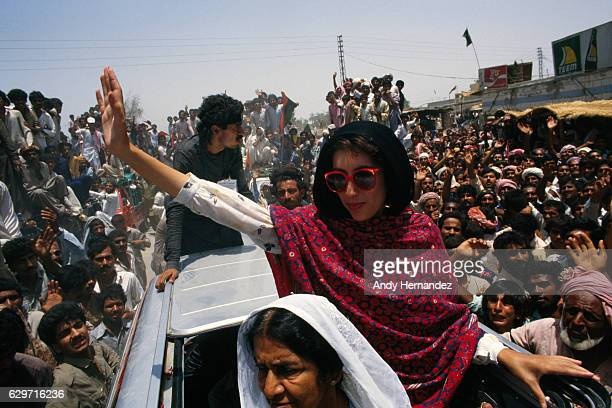 Pakistani politician Benazir Bhutto speaking to supporters in Karachi.