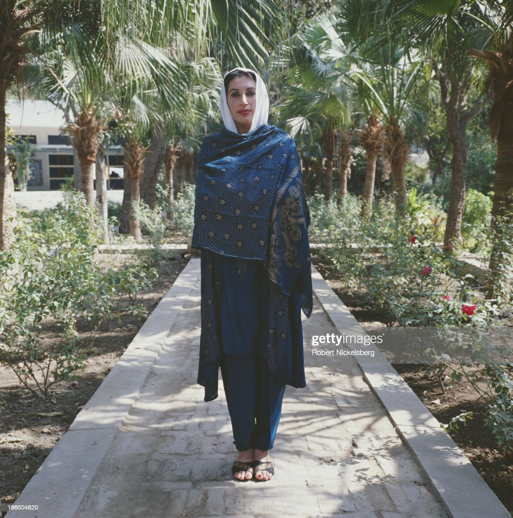 Pakistani politician, stateswoman, and 11th Prime Minister of Pakistan, Benazir Bhutto (1953 - 2007) in Larkana, Pakistan, circa 1988.