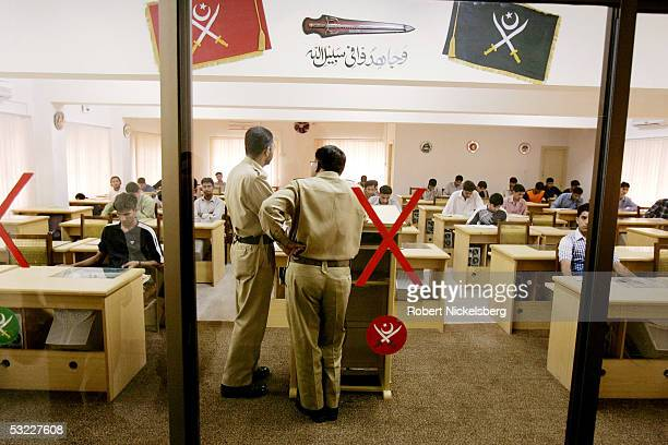 Pakistani potential army officer candidate's are given an electronic written test on June 28 2005 in Rawalpindi Pakistan Annual competition is fierce...