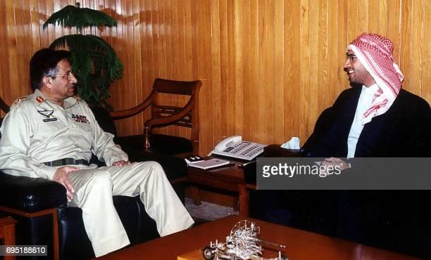 Pakistani President General Pervez Musharraf meets Libyan leader Moamer Kadhafi's son SaifulIslam Kadhafi in Islamabad 30 November 2002 SaifulIslam...