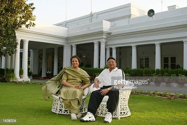 ISLAMABAD PAKISTAN JULY 61 Pakistani President General Pervez Musharraf sits with his wife Begum Sehba Pervez Musharraf at his residence in Army...