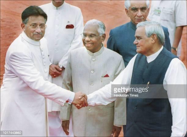 Pakistani President Pervez Musharraf bids farewell to Indian Prime Minister Atal Bihari Vajpayee as President K.R. Narayanan looks on, after an...