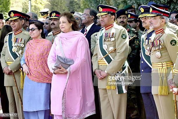 Pakistani President Pervez Musharraf his wife Sahiba Musharraf Chief of Staff Committee General Ehsanul Haq and Air Force Chief Air Marshal Kaleem...
