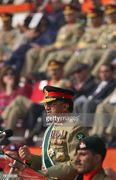 Pakistani President Pervez Musharraf speaks at a change of command ceremony on November 28 2007 in Rawalpindi Pakistan Musharraf stepped down from...