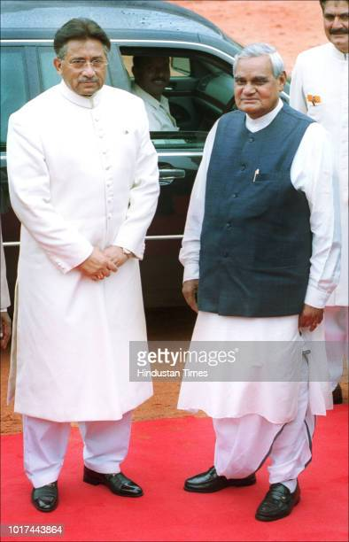 Pakistani President Pervez Musharraf with Indian Prime Minister Atal Bihari Vajpayee during an official welcome ceremony at the Rashtrapati Bhawan,...
