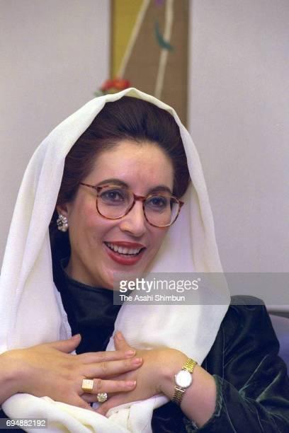 Pakistani Prime Minister Benazir Bhutto speaks during the Asahi Shimbun interview on January 18 1996 in Tokyo Japan