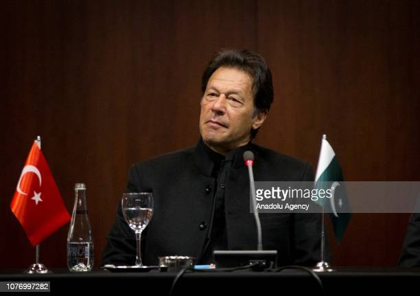 Pakistani Prime Minister Imran Khan attends a press conference with the representatives of the Foreign Economic Relations Board of Turkey in Ankara...