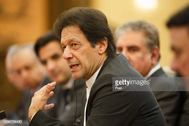 Pakistani Prime Minister Imran Khan attends talks with Chinese President Xi Jinping at the Great Hall of the People on November 2 2018 in Beijing...
