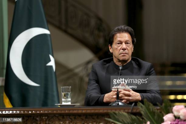 Pakistani Prime Minister Imran Khan is seen during joint press conference with Iranian President Hassan Rouhani at the Sadabad Palace in Tehran Iran...
